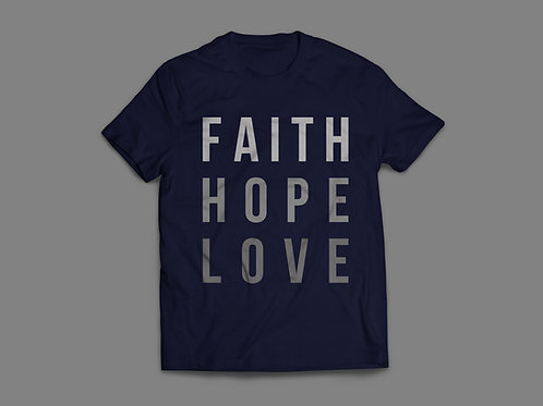 Navy Faith Hope Love T-shirt Christian Clothing by Stay Lit Apparel