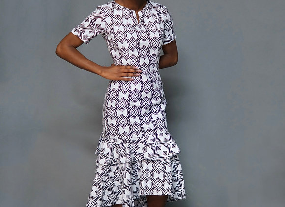 Tall Black and White African Print Fitted Pencil Dress Asikara by Laura Jane
