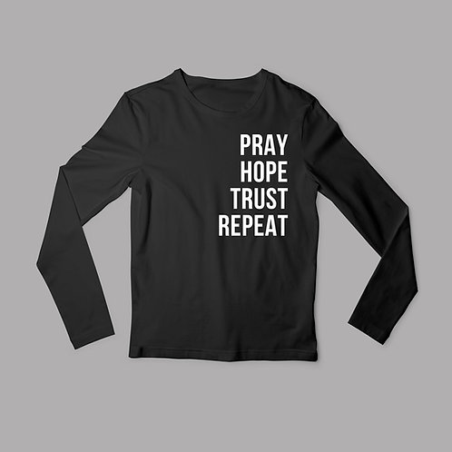 Pray hope trust repeat long sleeved t-shirt by Stay lit Apparel Christian clothing UK