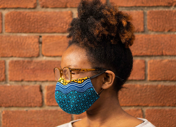 African Print Adjustable elastic mask with filter pocket