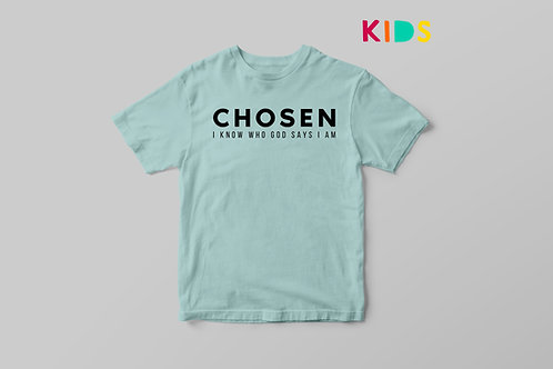 Chosen I know who God says I am T shirt for Kids, Children's Christian Clothing UK