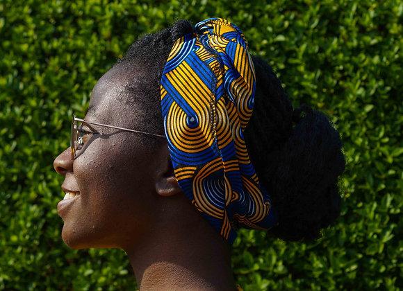African Print Headwrap Blue & Yellow Asikara by Laura Jane UK