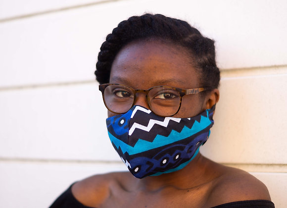 Kente Reuka Blue African print Face Mask Covid 19 Non surgical Asikara by Laura Jane UK