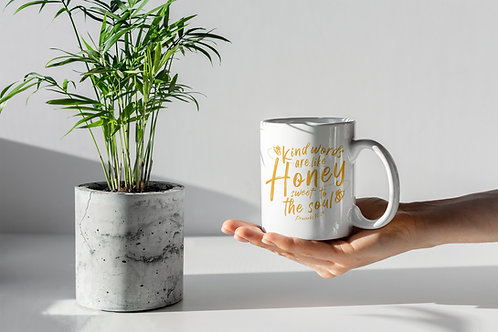 Kind words are like honey proverbs Bible verse mug Stay Lit Apparel Christian gifts UK