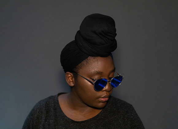 Black Jersey Headwrap, Headwraps UK, Stretchy Headwraps, Soft Stretch Headwraps UK, High Quality, Asikara by Laura Jane