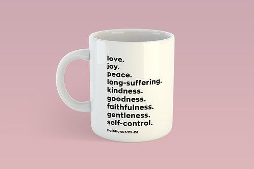 Fruits of the Spirit Bible Verse Mug