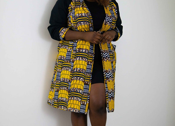 Front African Print Trench Coat African Clothing Black Yellow by Asikara