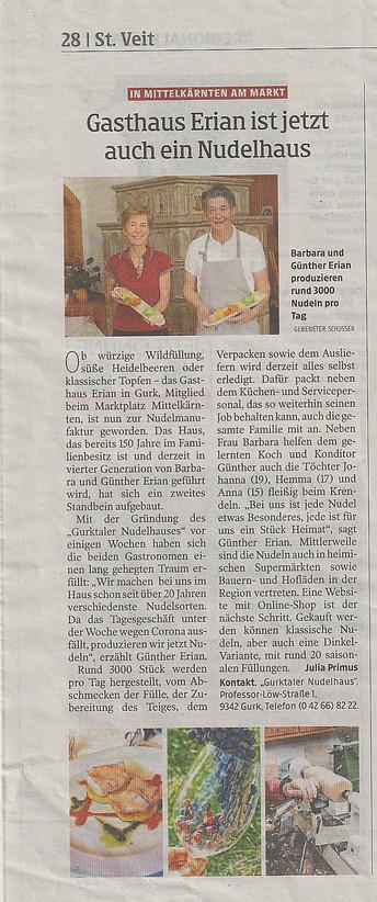 Kleine Zeitung, Nov. 2020