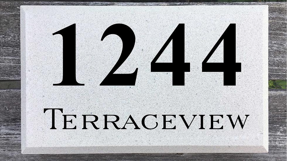 Beveled Edge 15 x 9 x 2 3/4 Times New Roman Font and Serif Street Name