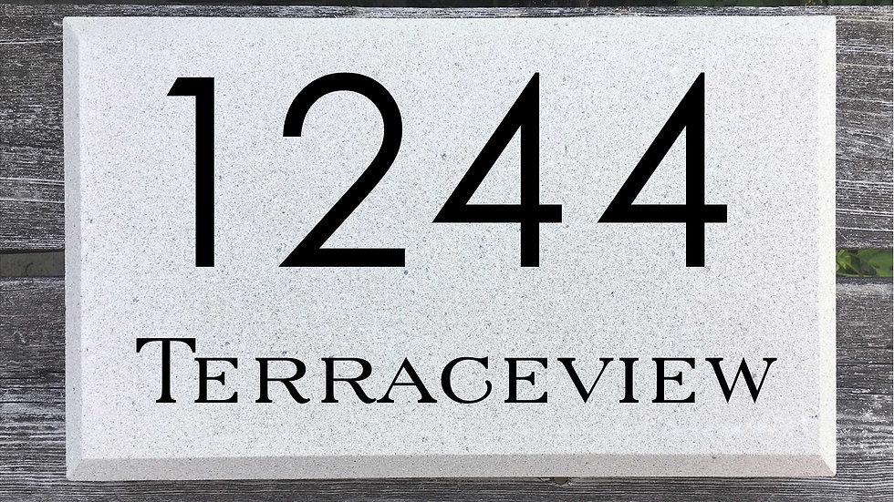 Beveled Edge 15 x 9 x 2 3/4 Century Gothic Font and Serif Street Name
