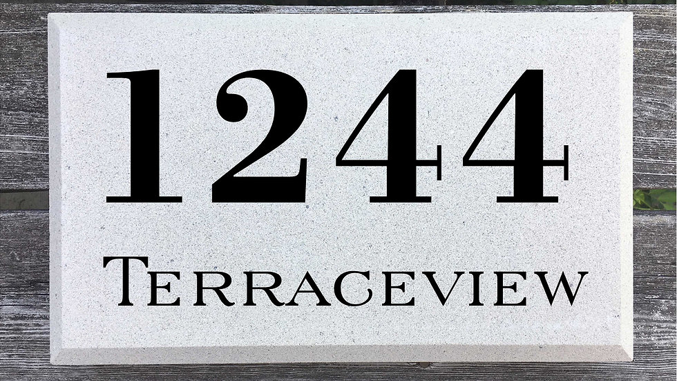 Beveled Edge 15 x 9 x 2 3/4 Bodoni Font and Serif Street Name