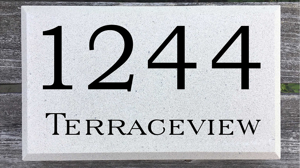 Beveled Edge 15 x 9 x 2 3/4 Bookman Font and Serif Street Name