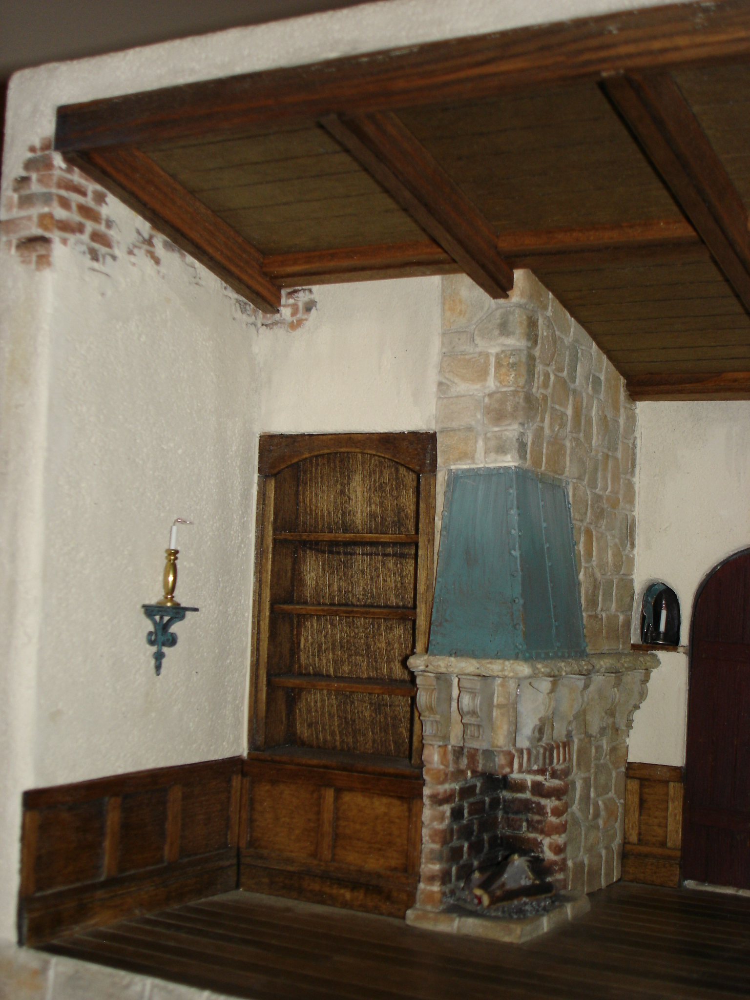 Bookshelf & Fireplace