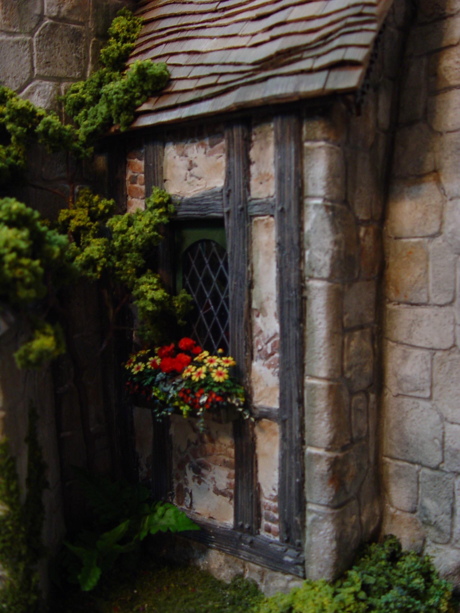Diamond Pane Window w/Flowers