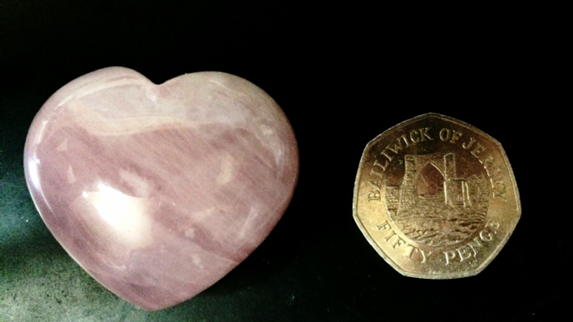 Rose Quartz Crystal Heart Attuned to Archangel Raphael and Archangel Chamuel