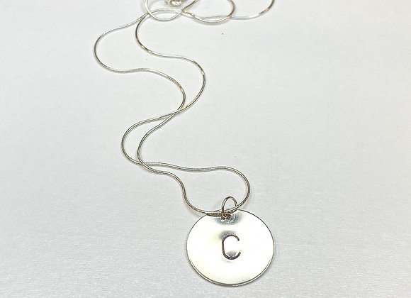 Hand stamped charm necklace silver