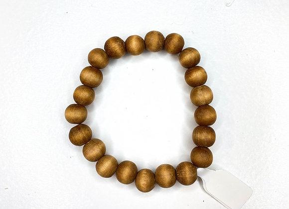 Brown wood beaded bracelet