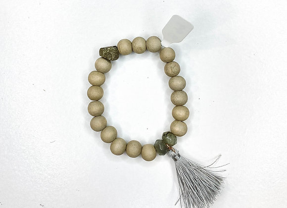 Grey Wood With Tassel And Stone