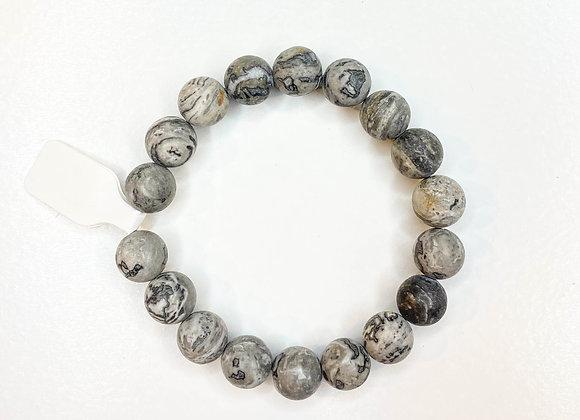 Gray marble stone bracelet