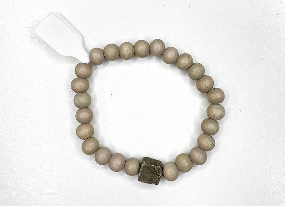 Grey Wood Bracelet With Stone