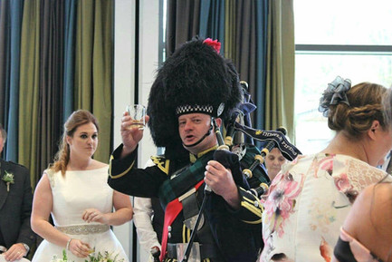 Piper toasting the Bride and Groom