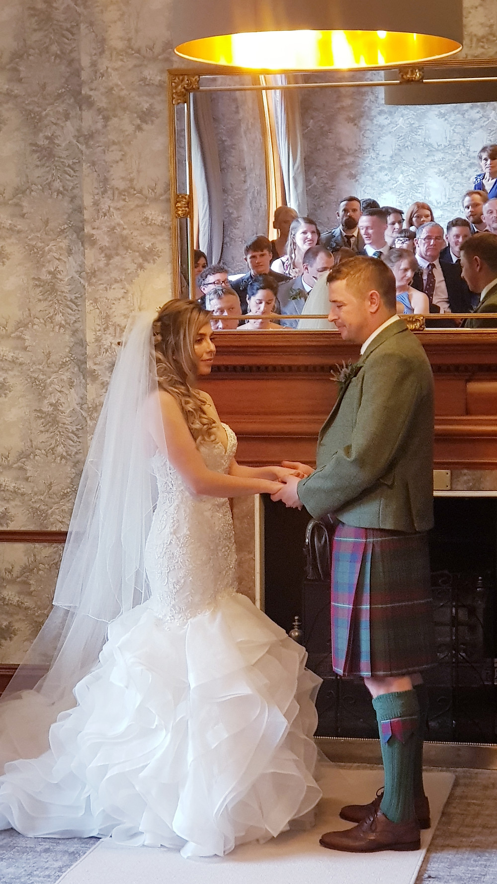 Bride & Groom at Murrayshall Hotel, taken by the wedding piper, Thistle Piping Central Scotland