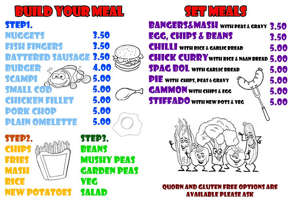 Childrens menu Small appetite Menu Vegetarian gluten free Child friendly disabled friendly