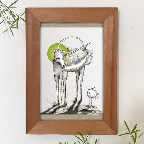 """Dogpot and Birdpot""  A6 postcard"