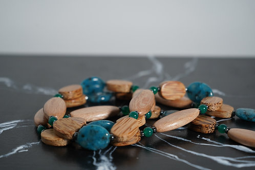 Wood, Green Onyx, Hematite Necklace
