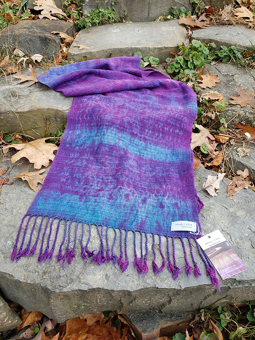 Wide scarf shibori overdyed