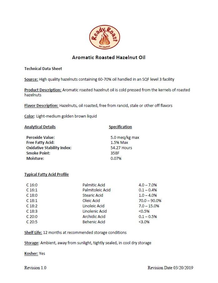 Hazelnut Oil Technical Data Sheet