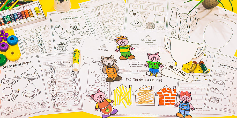 Worksheets and materials for our online preschool classes.