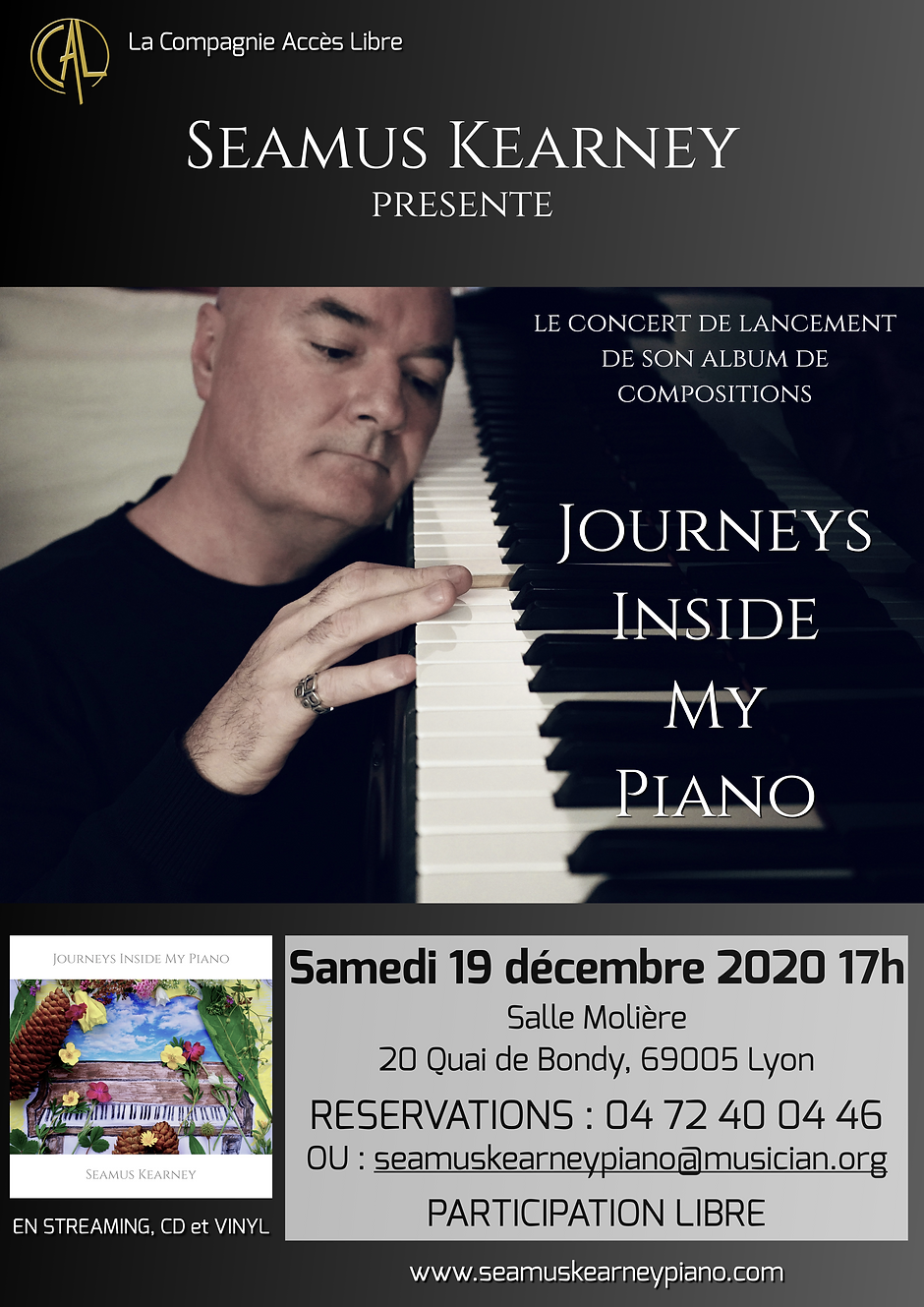 A poster advertising the piano concert of Seamus Kearney: Salle Molière in Lyon, 19 December 2020 at 5pm. The concert marks the launch of his album of original compositions, Journeys Inside My Piano