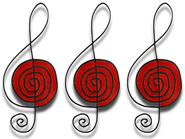 Three treble clefs. Logo for Seamus Kearney Piano, the home of Seamus Kearney's original piano compositions