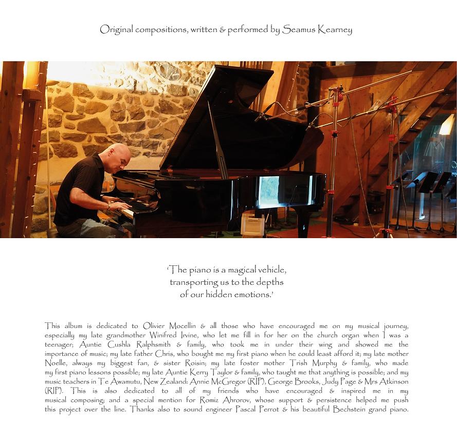 Seamus Kearney recording his music album, Journeys Inside My Piano