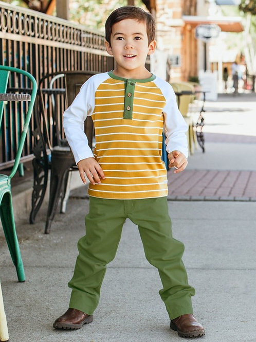 BOY'S GOLDEN YELLOW STRIPE HENLEY TEE BLKGI