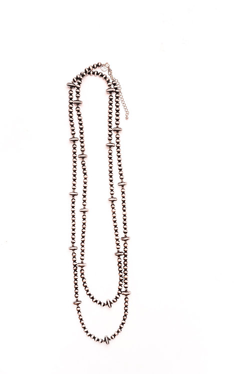 """66"""" FAUX NAVAJO PEARL BEADED NECKLACE N563"""