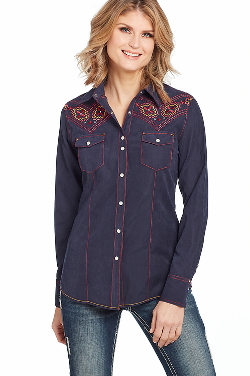 WOMEN'S NAVY MICROSUEDE SHIRT CG01105