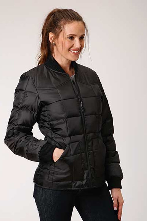WOMEN'S BLACK QUILTED JACKET BY ROPER 0522