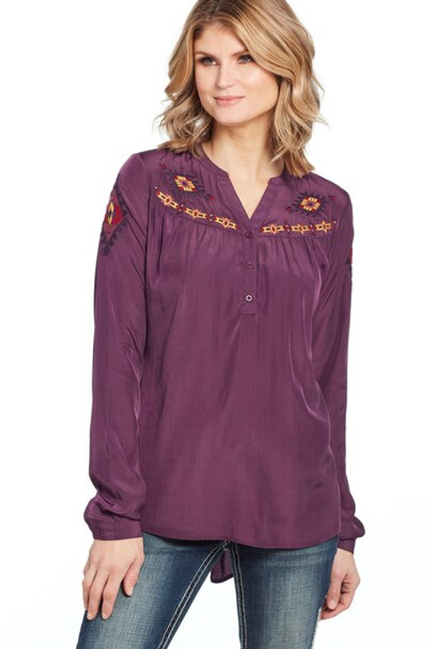 COWGIRL UP L/S HENLEY TOP WITH GEOMETRIC EMBROIDERY & HI-LOW HEM (CG01102)