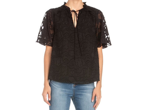 Miss Me Floral Embroidered Top Black MT0929S