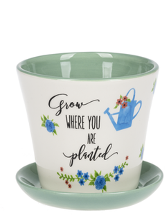 GANZ LOVE MY GARDEN PLANTER GROW WHERE YOU ARE PLANTED