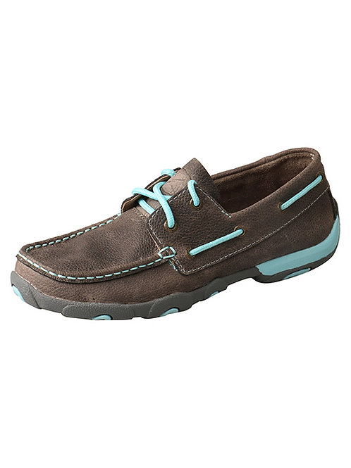 WOMEN'S TWISTED X GREY/BLUE DRIVING MOCS WDM0098