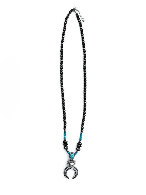 """22""""TURQ. NECKLACE W/ STAMPED BLOSSOM PENDANT N1305"""