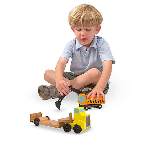 MELISSA & DOUG TRAILER AND EXCAVATOR WOODEN VEHICLE SET 4577