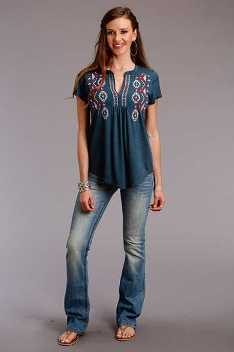 WOMEN'S ROPER HEATHER JERSEY PEASANT TOP 3053