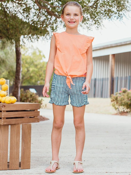 RUFFLEBUTTS NAVY STRIPPED SHORTS GTWNW