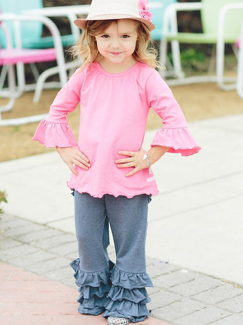 TODDLER/GIRL'S FAUX DENIM FANCY FLARE PANTS GPKBL