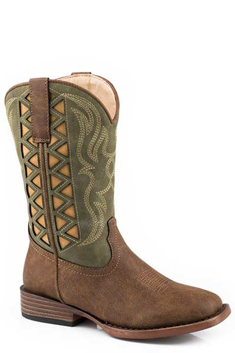 BOY'S GREEN TOP SQUARE TOE BOOTS 2485