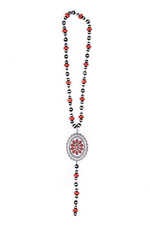 NAVAJO PEARL & RED Y NECKLACE WITH LARGE CONCHO N1230RD